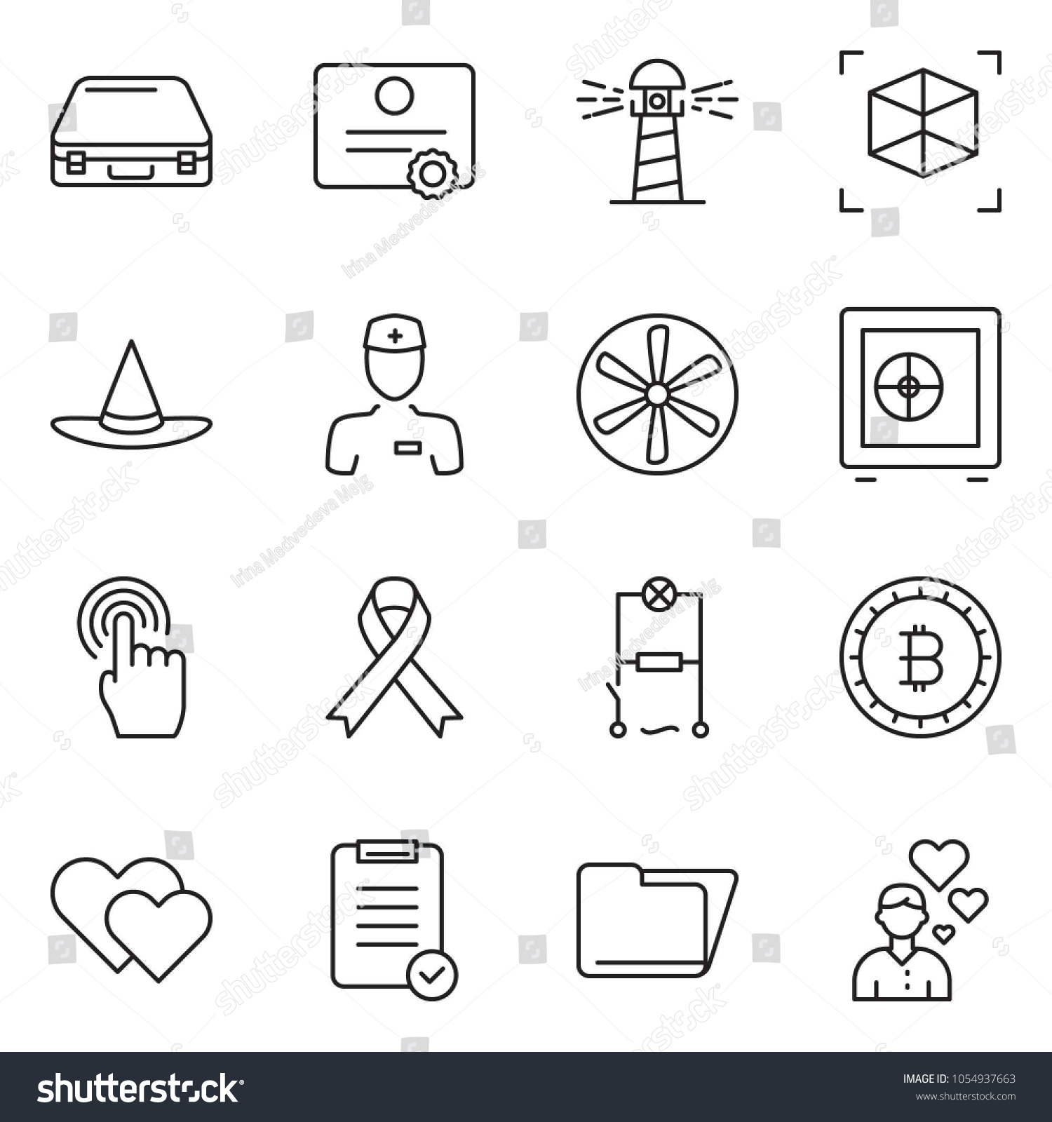 Thin Line Icon Set Safe Vector Stock Royalty Free Lighthouse Fan Wiring Diagram Folder Check List Case Bitcoin