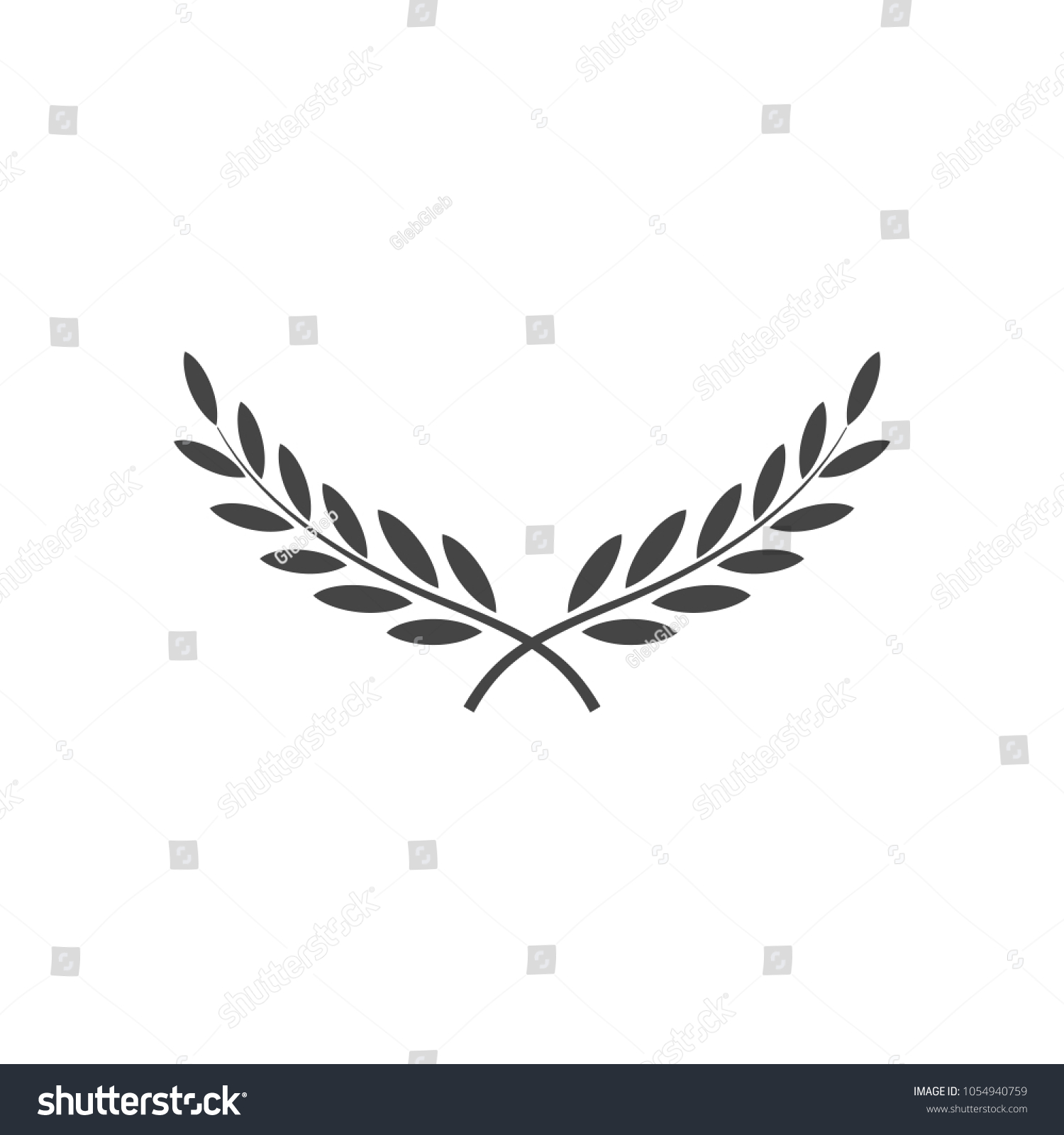Branches Olives Symbol Victory Vector Illustration Stock Vector