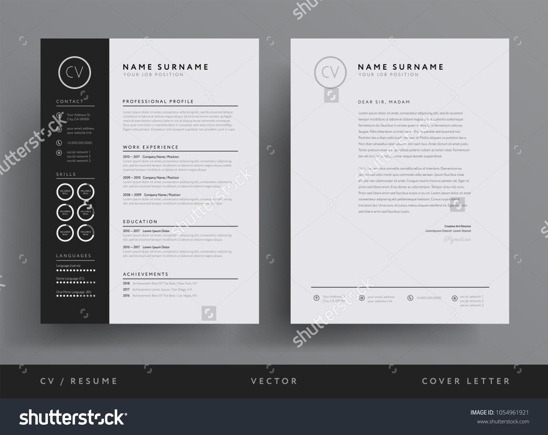 Immagine Vettoriale Stock A Tema Professional CV Resume Template