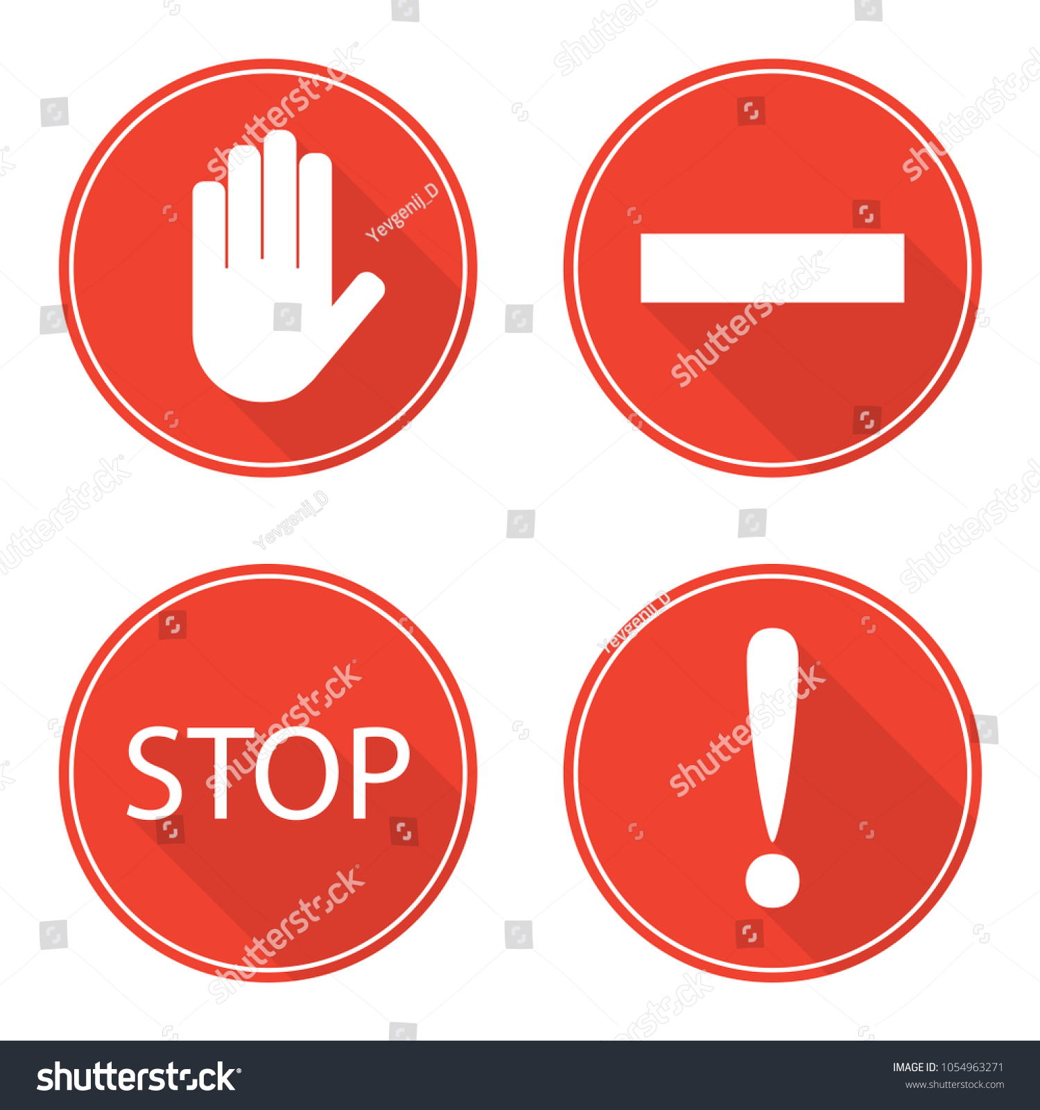 Red stop signs hand rectangle word stock vector 1054963271 red stop signs hand rectangle word stop and exclamation mark stop symbols buycottarizona Choice Image