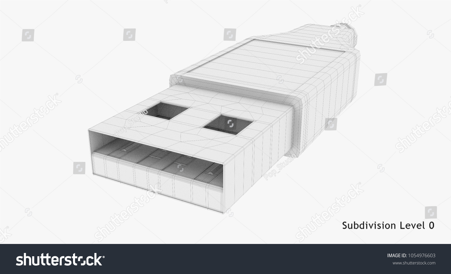 3 D Rendering Wireframe Usb Plug Typea Stock Illustration Royalty Wiring A 3d Wire Frame Type Connector Isolated On White Background