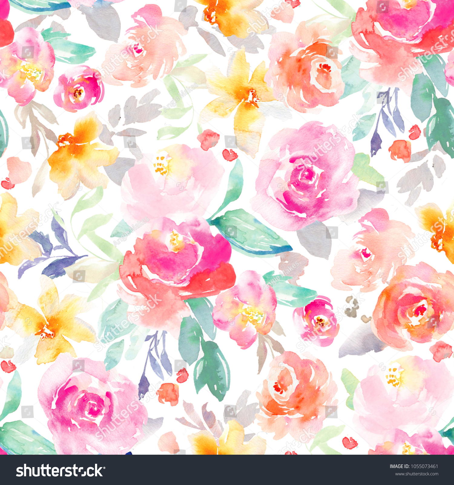 Bright Pink Yellow Girly Watercolor Flowers Stock Illustration