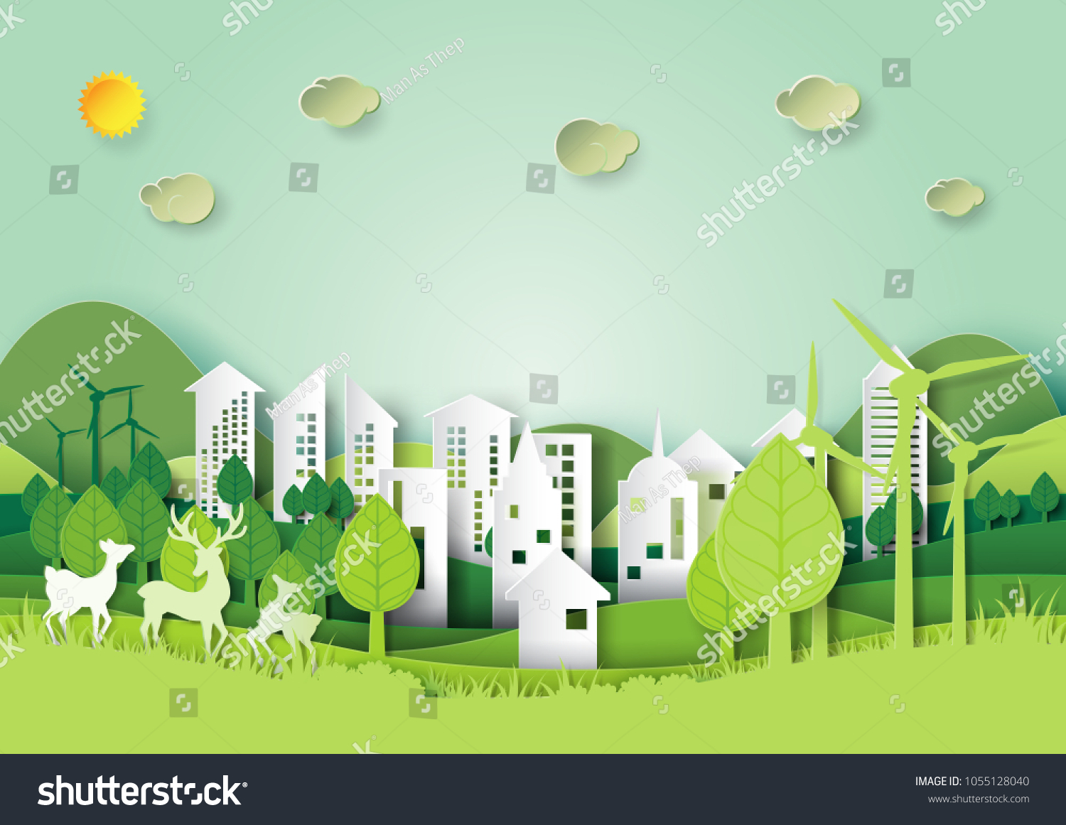 Ecology and environment conservation concept.Eco green city and urban forest landscape for green energy paper art style.Vector illustration.