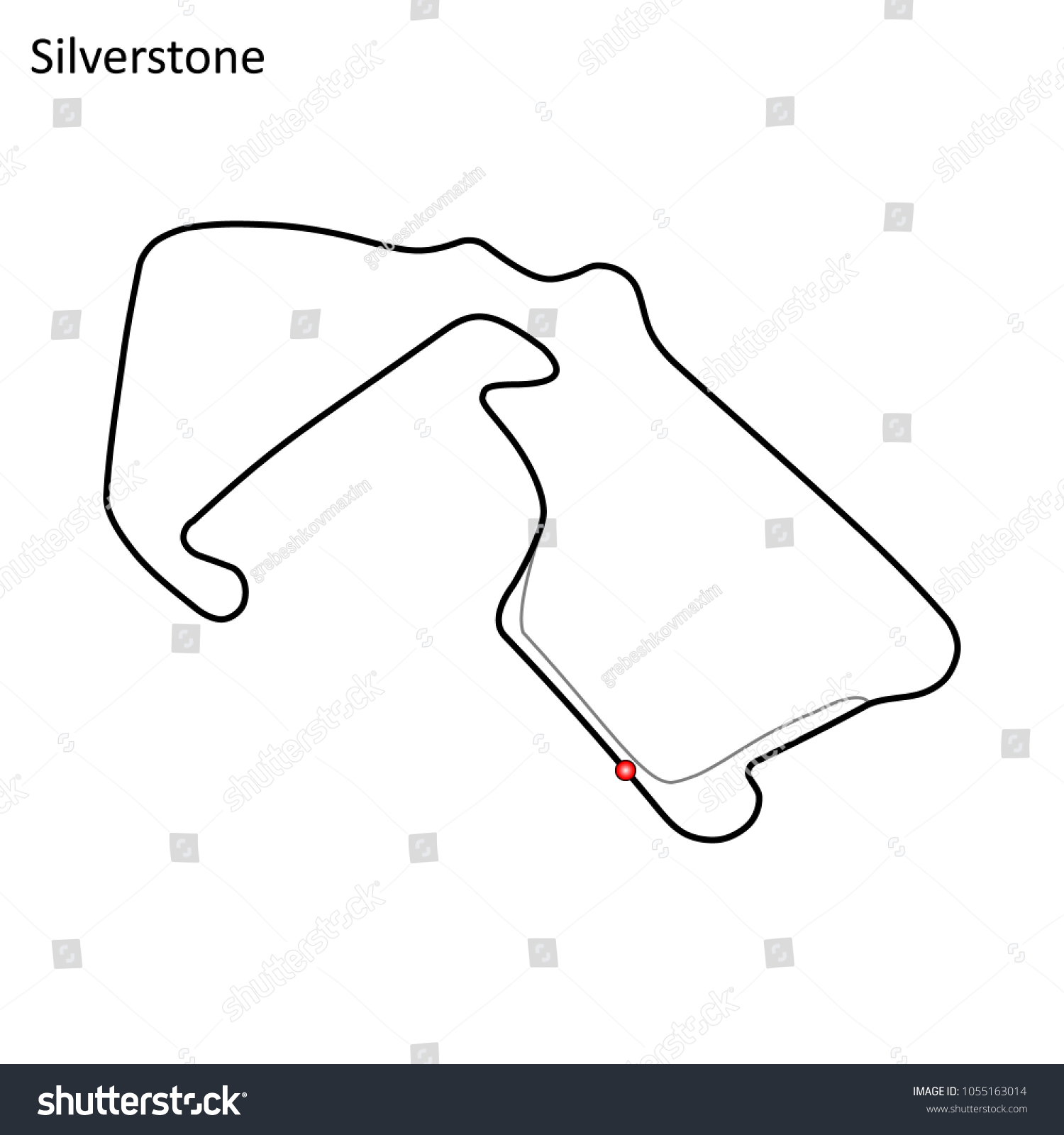 Silverstone Grand Prix Race Track Circuit Stock Vector 1055163014 ...