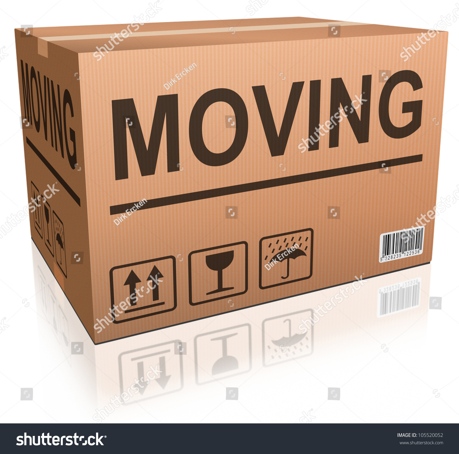 moving box in cardboard text relocation package stock photo save to a lightbox
