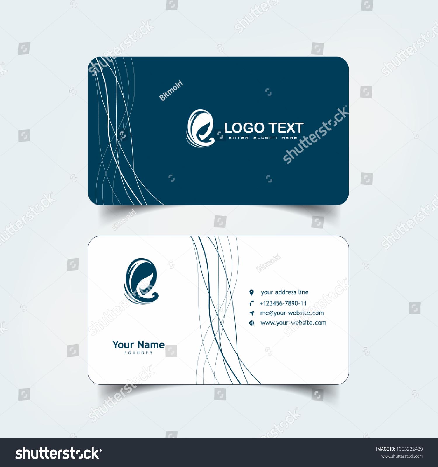 Simple Elegant Business Card Templates Hair Stock Photo (Photo ...