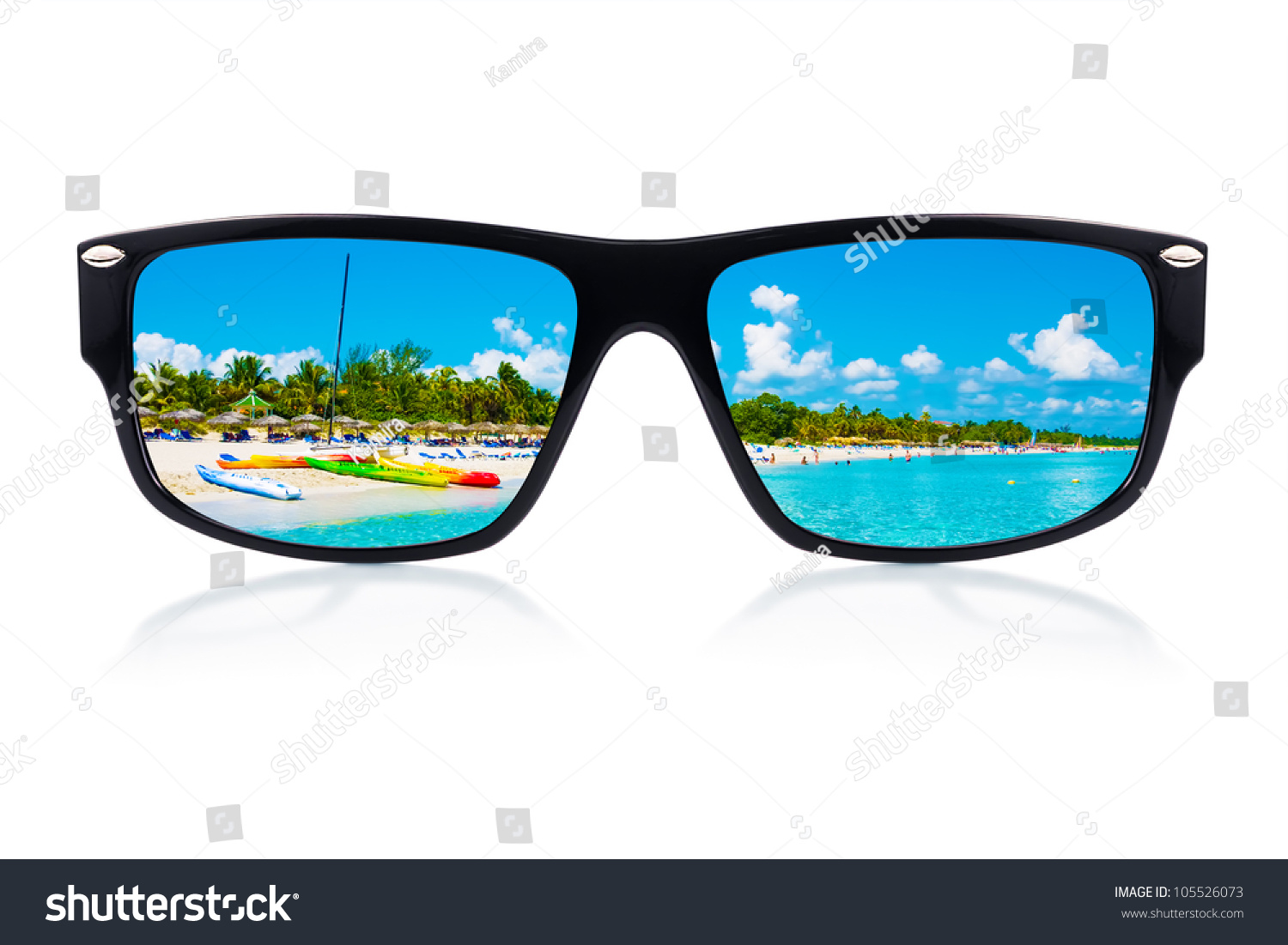 sailing sunglasses g9nm  Sunglasses with a tropical beach and sailing boats reflected where the  lenses should have been isolated