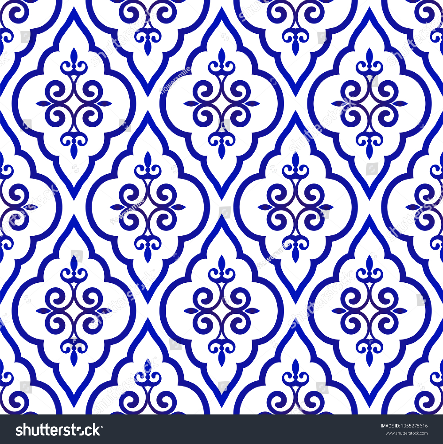 Blue White Royal Pattern Seamless Background Image Vectorielle De