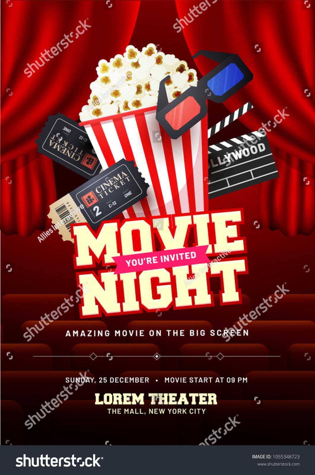 movie night concept creative template cinema のベクター画像素材