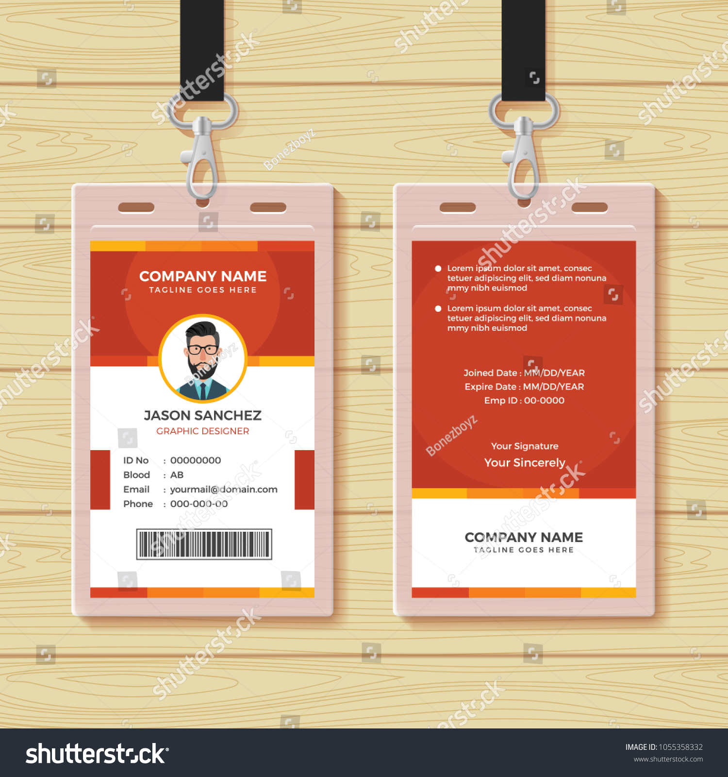 red employee id card design template のベクター画像素材