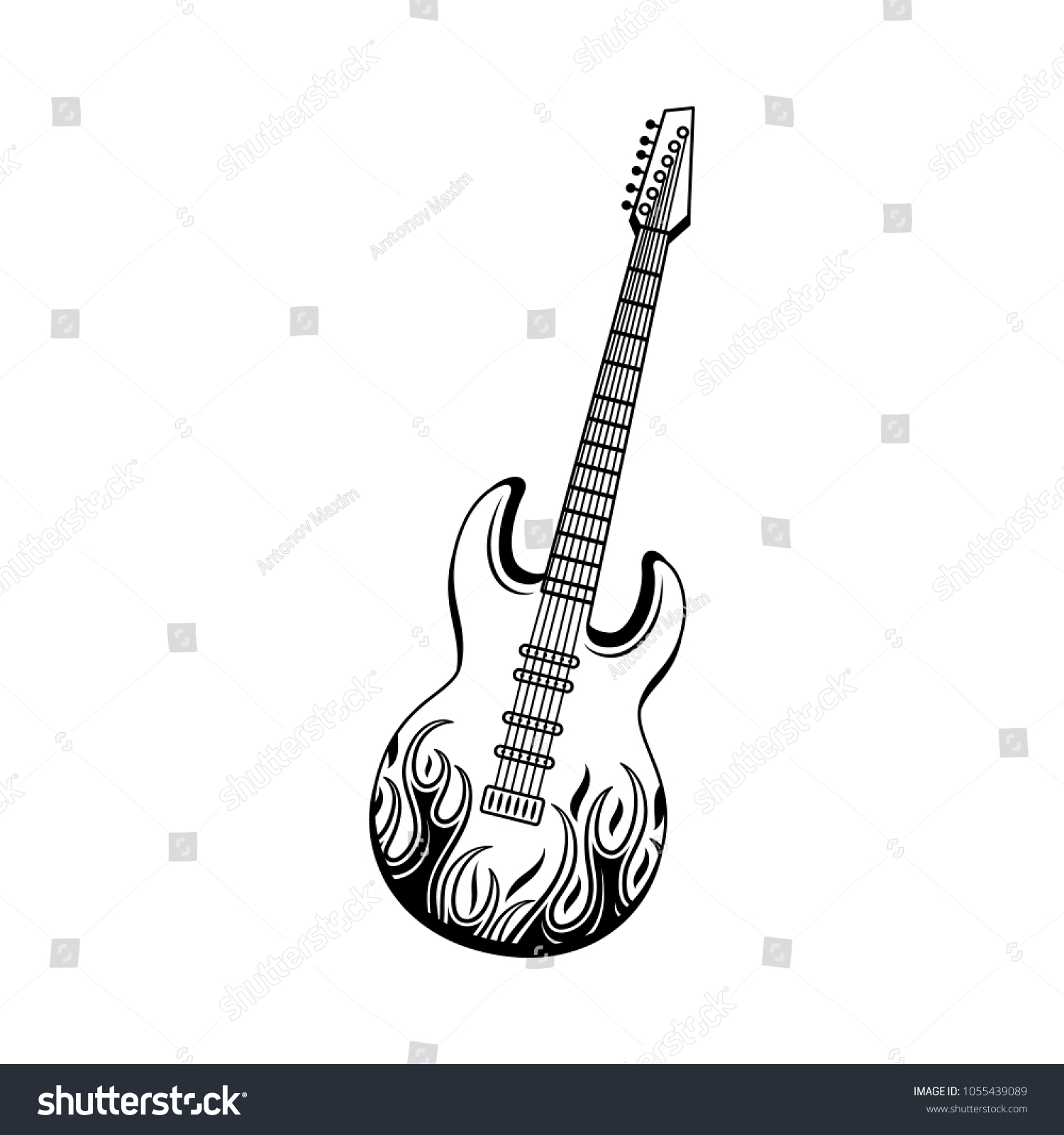 graphic electric guitar black jack cable stock vector (royalty free