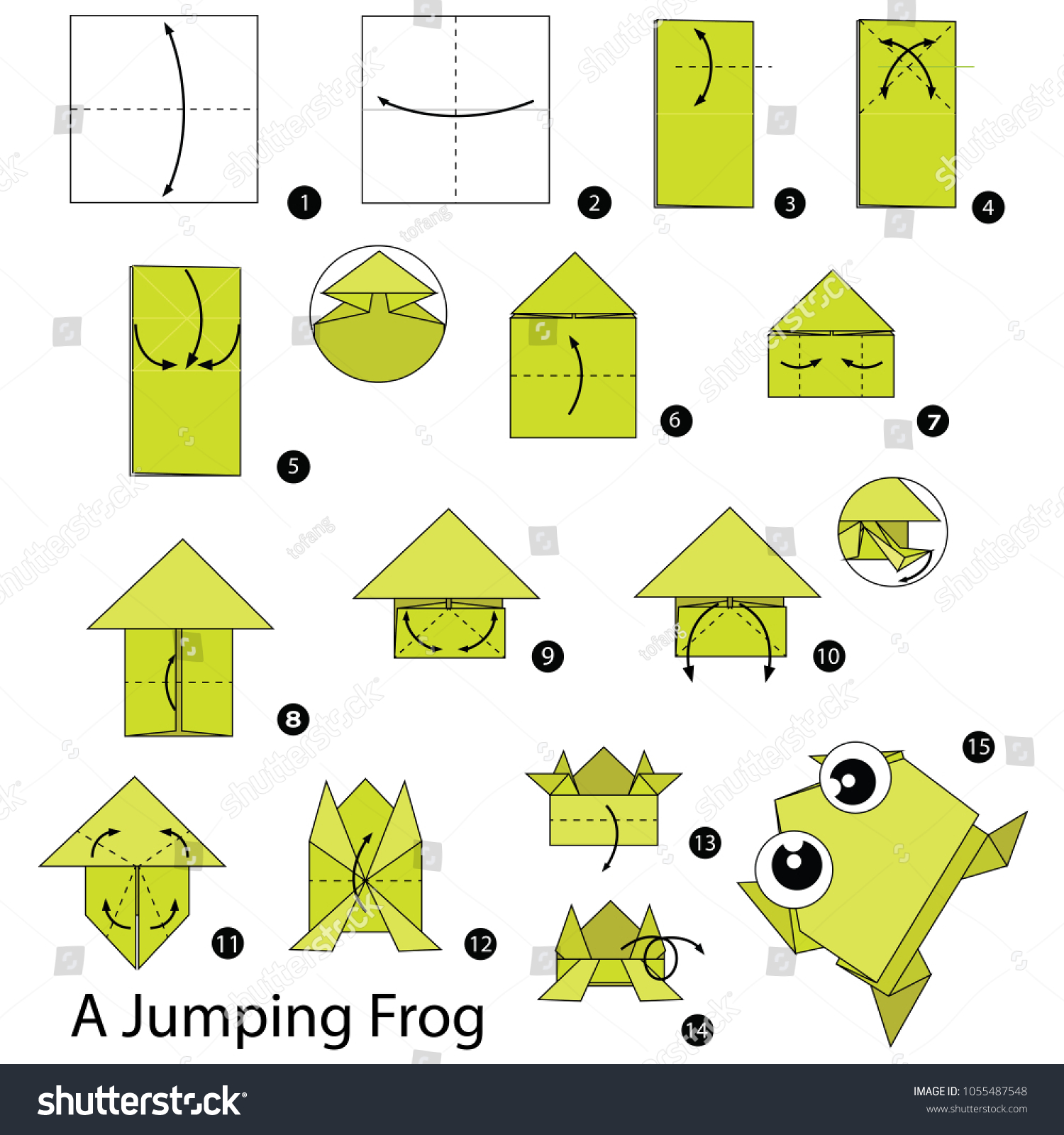Make an origami frog that really jumps | Origami frog, Origami ... | 1600x1500