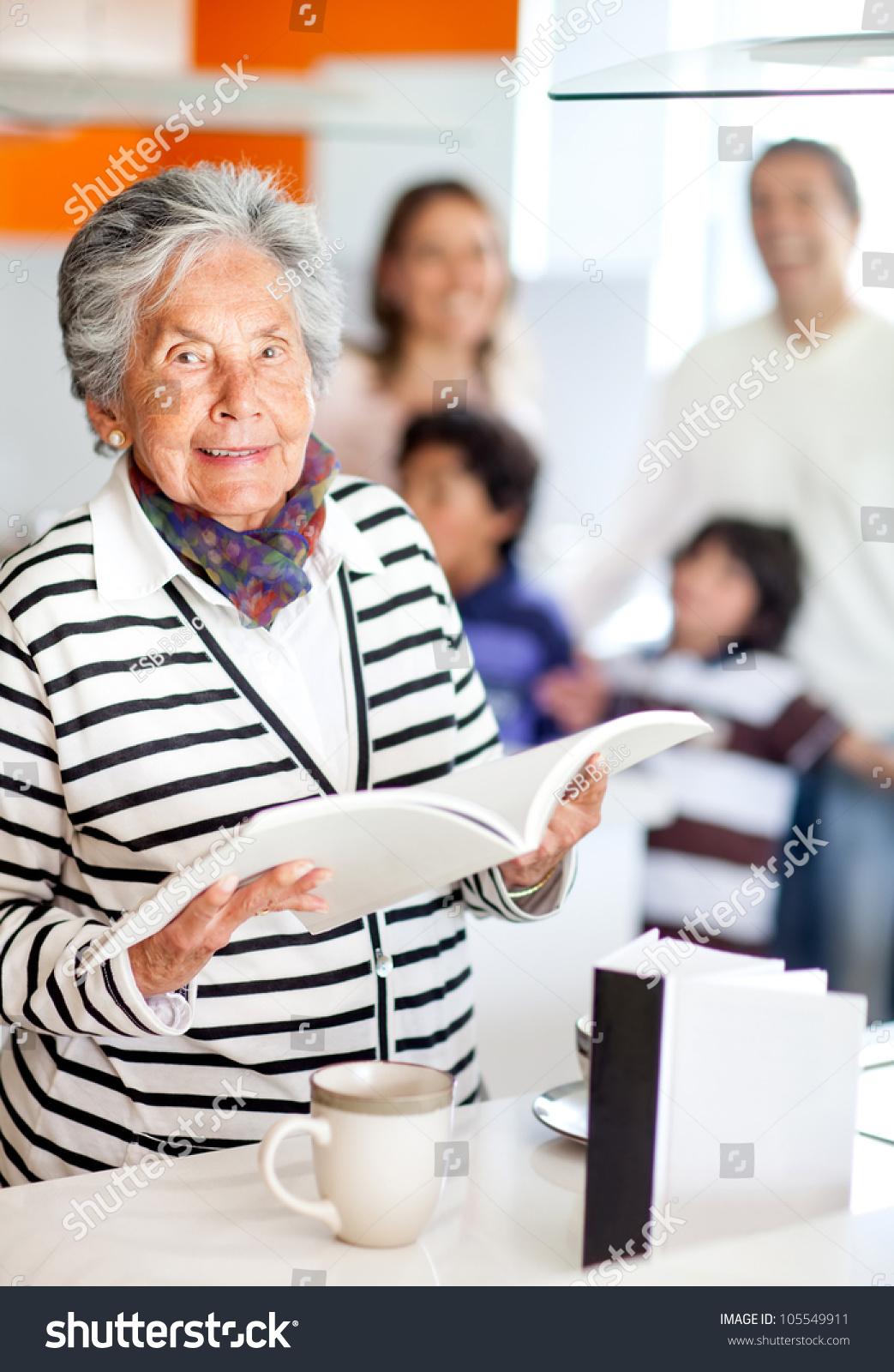 Grandma Kitchen Holding Recipe Book Stock Photo (Royalty Free ...