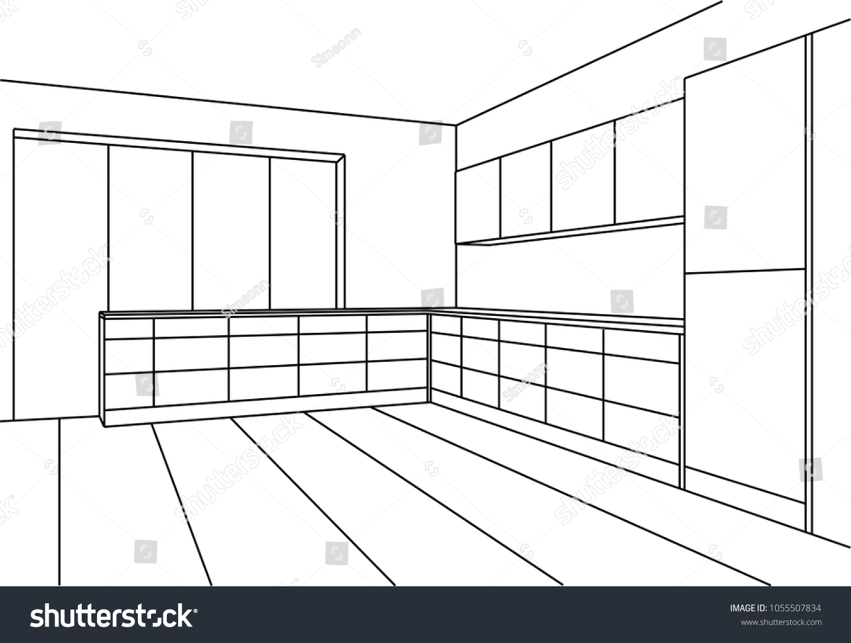 Kitchen sketch modern plan interior perspective line drawing kitchen project interior design 3d
