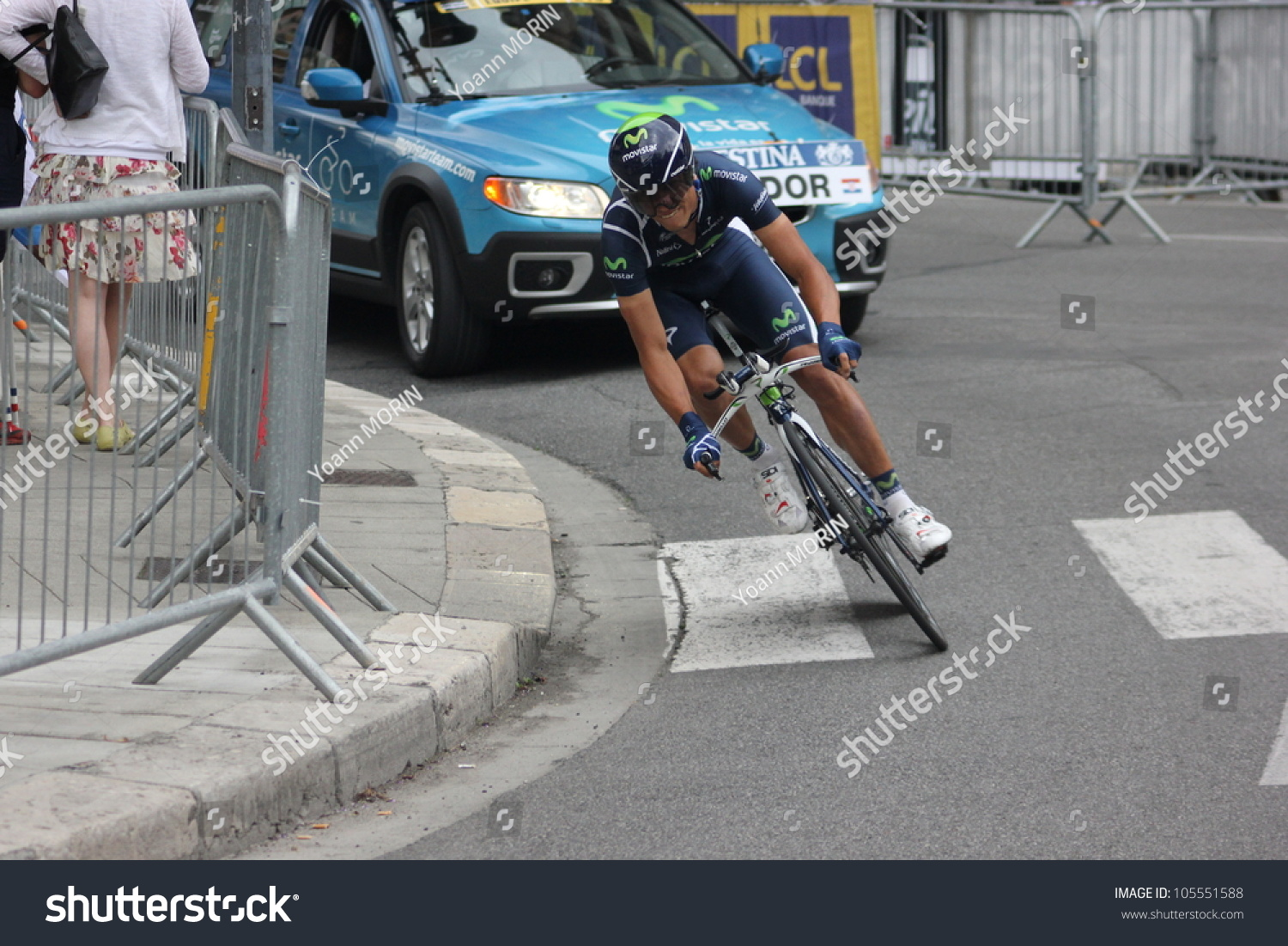 """GRENOBLE, FRANCE - JUN 3: Professional racing cyclist Andrey Amador rides UCI WORLD TOUR """"CRITERIUM DU DAUPHINE LIBERE"""" time trial on June 3, 2012 in Grenoble, France. Luke Durbridge wins the stage"""