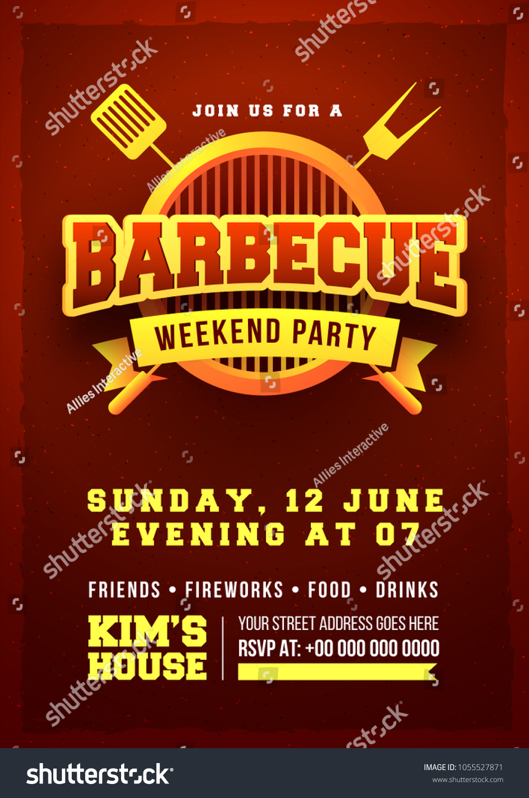 barbecue poster flyer template invitation design stock vector