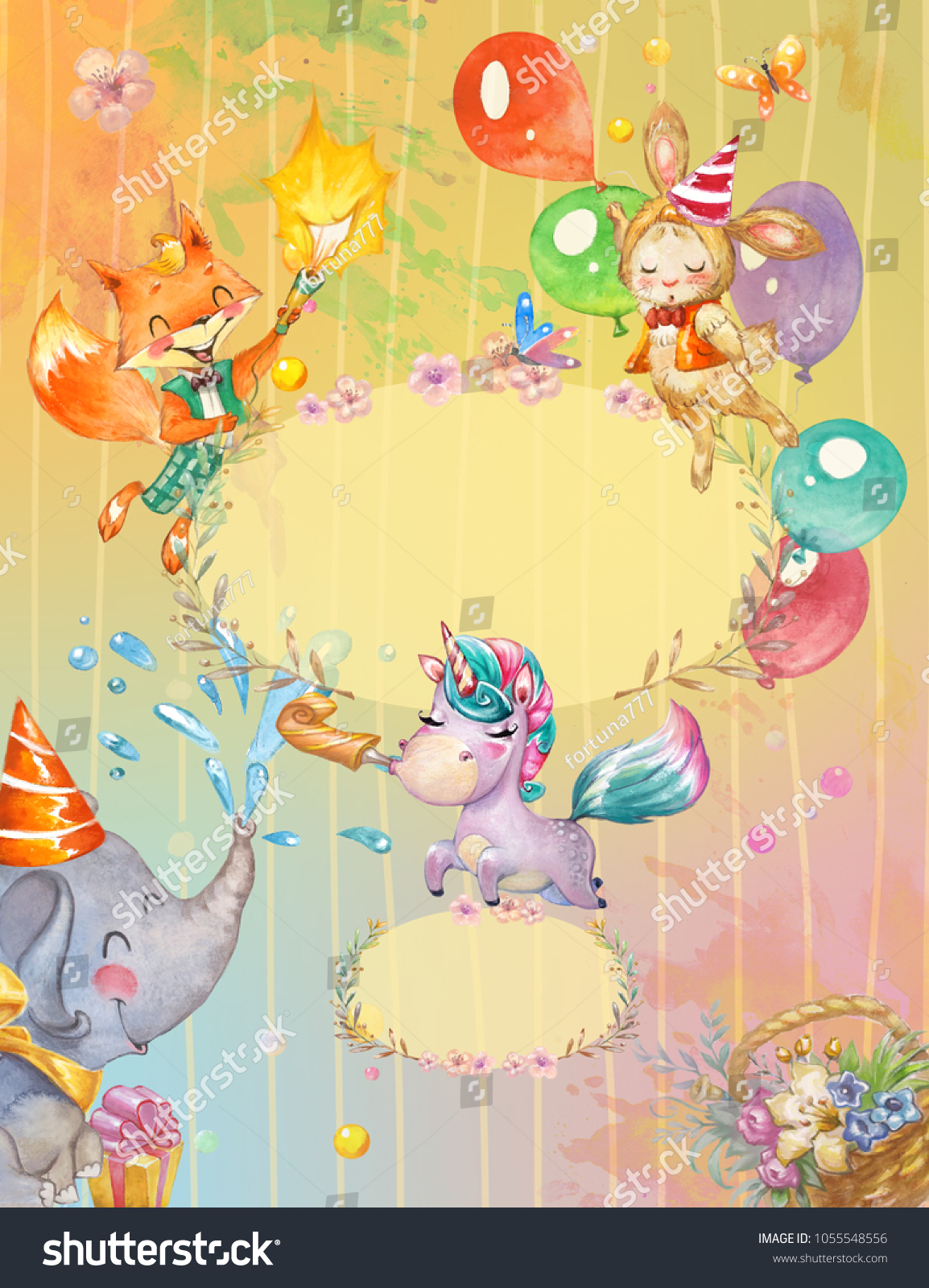 Colorful Children Birthday Party Invitation Background Stock ...