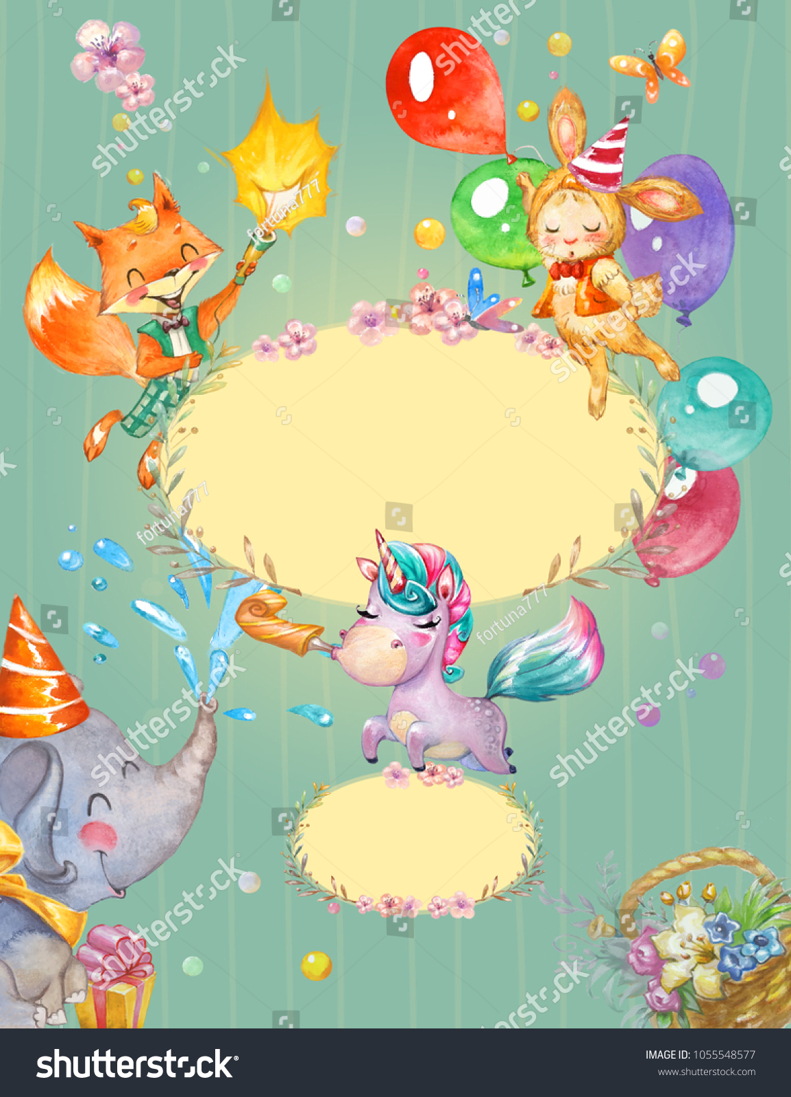 Children Birthday Party Invitation Background Watercolor Stock ...