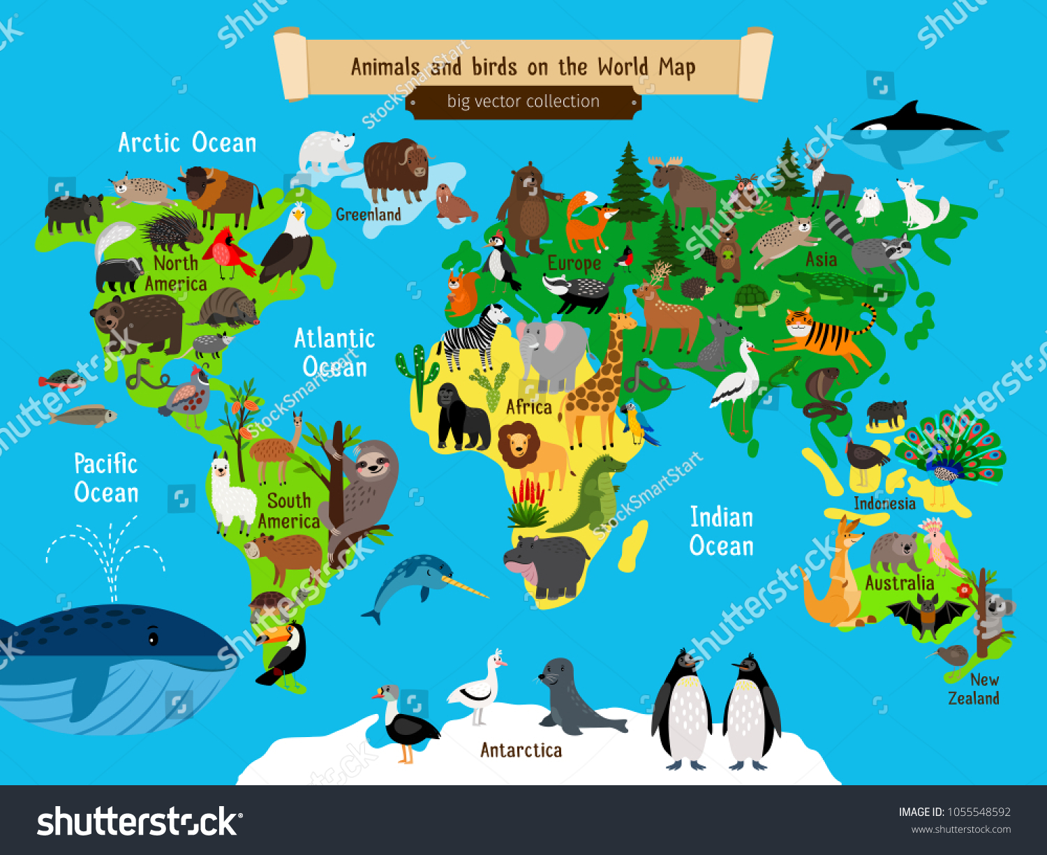 World Map Animals Europe Asia South Stock Vector (Royalty Free ...