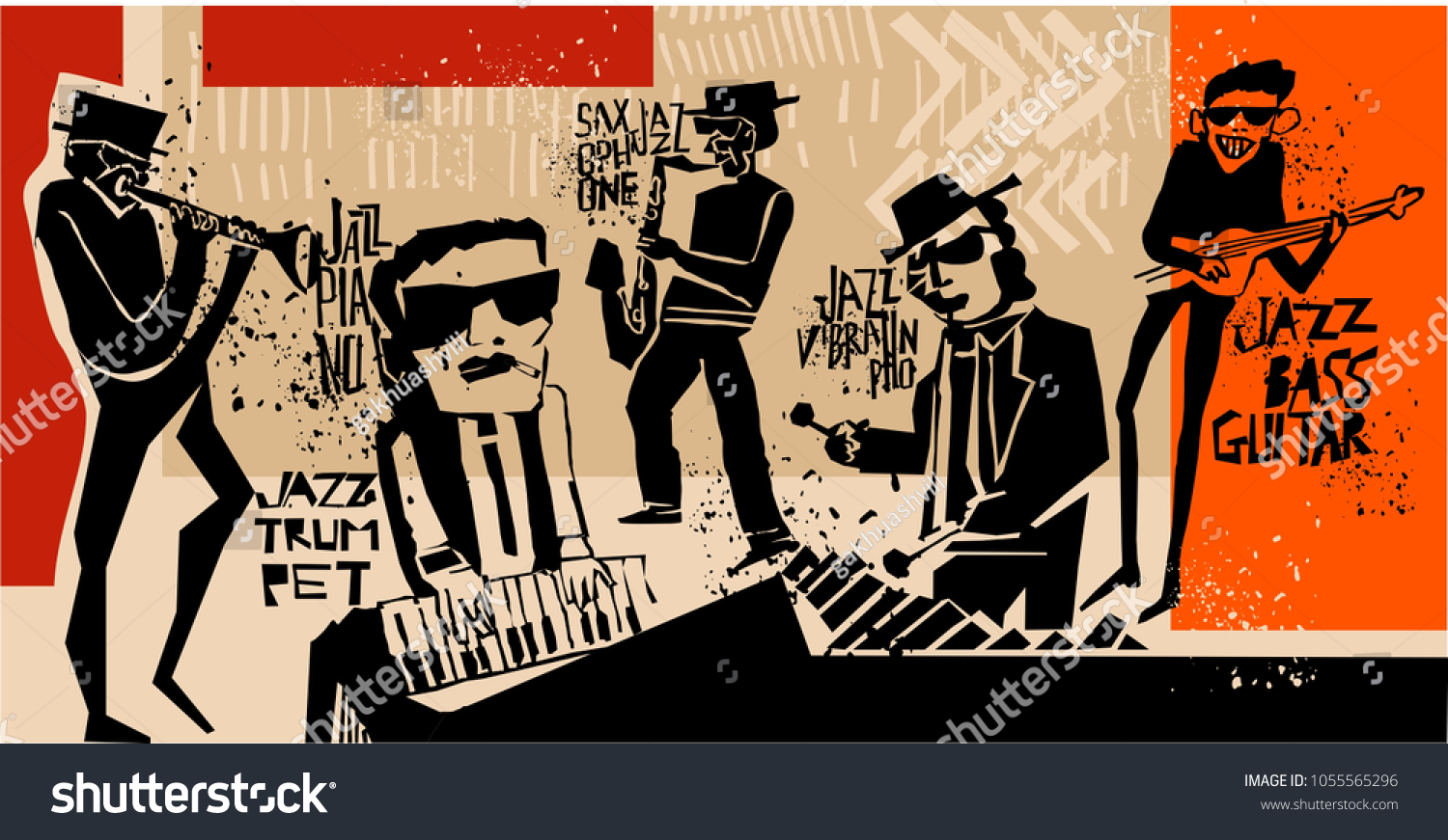 cool vintage vector jazz band poster stock vector royalty free