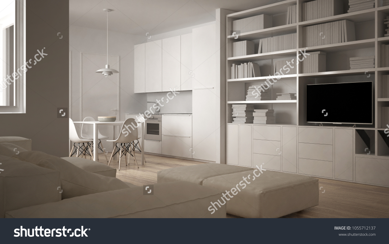 Minimalist Living Room Sofa Kitchen Dining Stock Illustration 1055712137