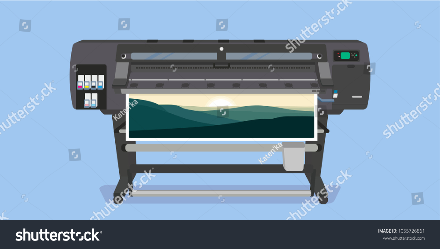 large format full color latex printer stock vector royalty free 1055726861 https www shutterstock com image vector large format full color latex printer 1055726861