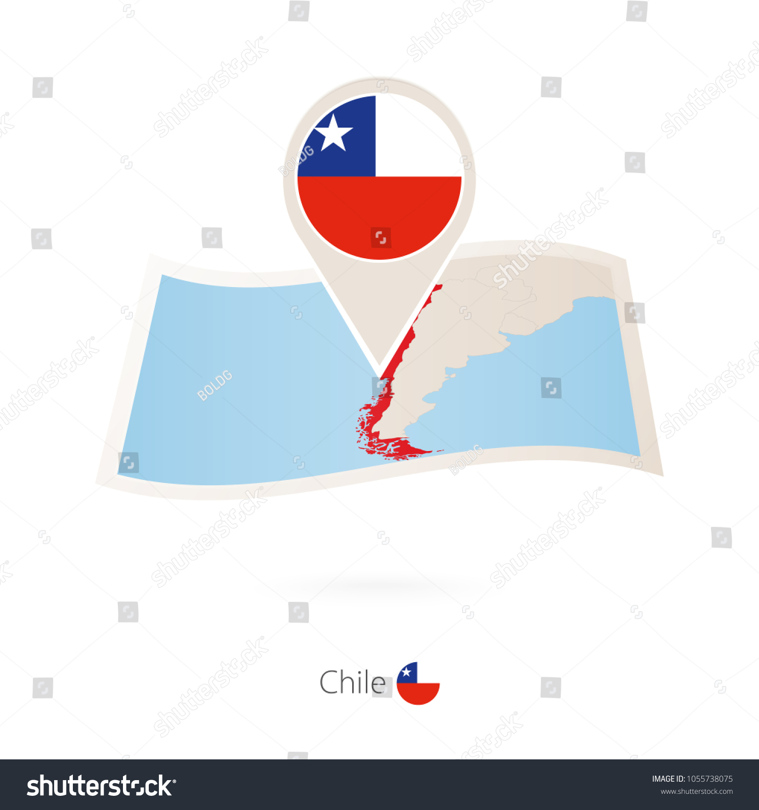 folded paper map chile flag pin stock vector 1055738075 shutterstock rh shutterstock com Properly Folded United States Flag Veterans Flag Folded