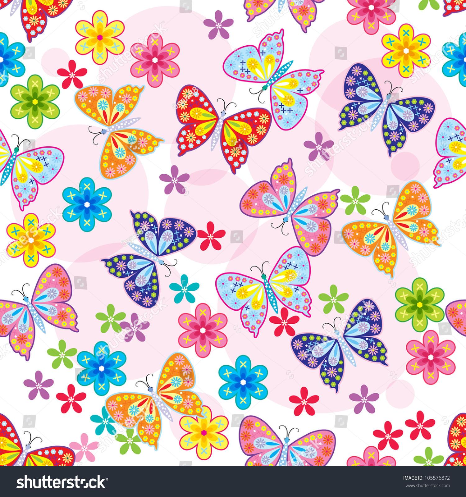 seamless pattern butterfly flower stock vector 105576872