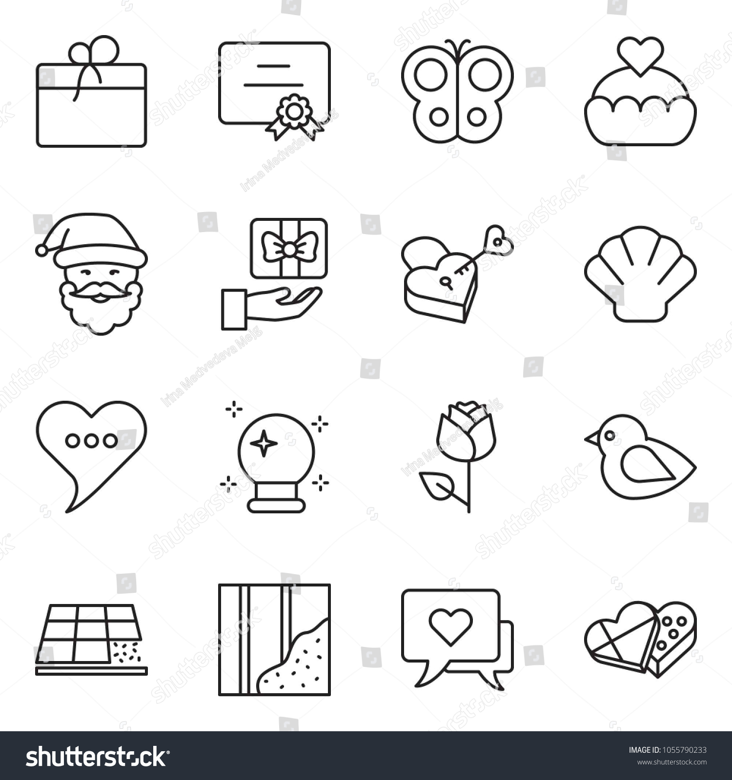 Thin Line Icon Set Certificate Vector Stock Photo Photo Vector