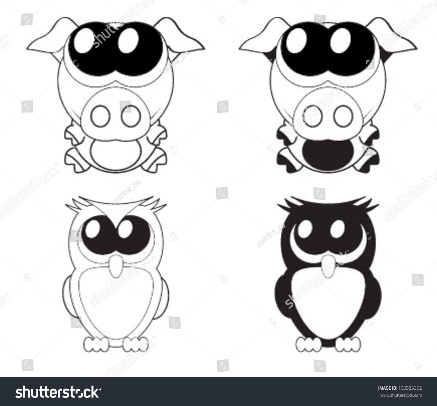 Cute Cartoon Pig And Owl With Big Eyes, Vector - 105585392 ... Cute Cartoon Pigs With Big Eyes