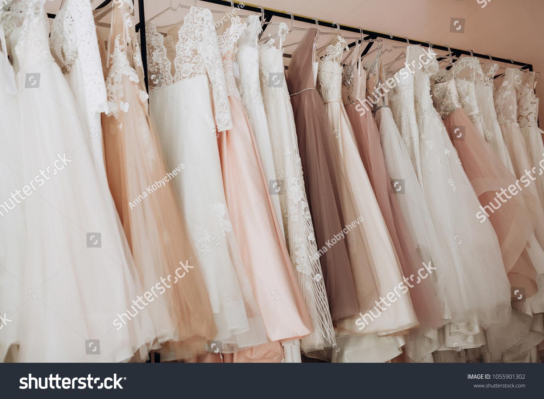 Variety White Pink Wedding Dresses Lush Stock Photo Edit Now 1055901302