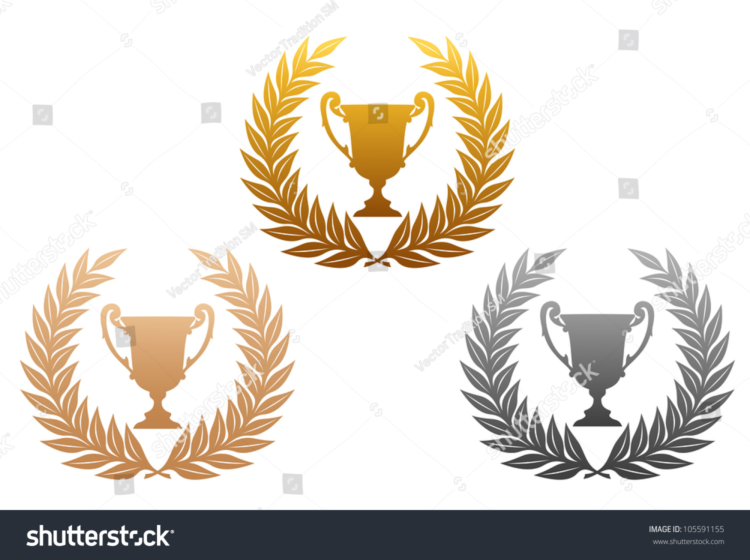golden silver and bronze laurel wreaths with trophy for