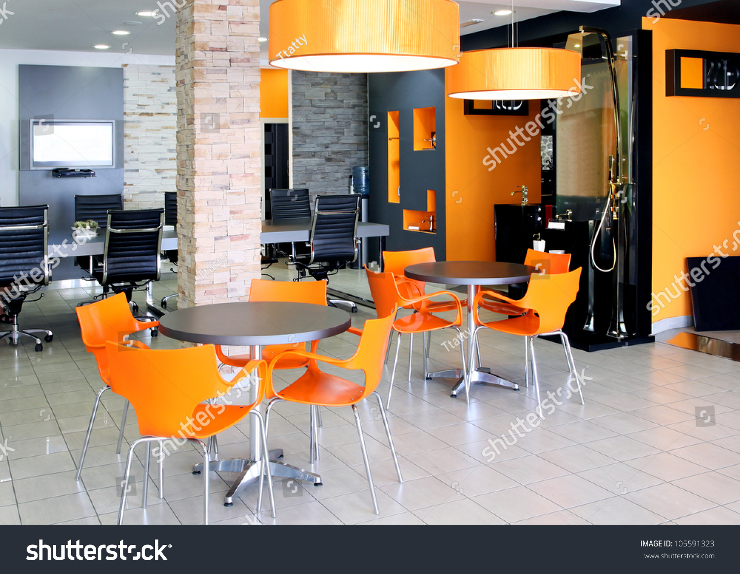 modern office space with bright orange furniture preview save to a lightbox bright modern office space