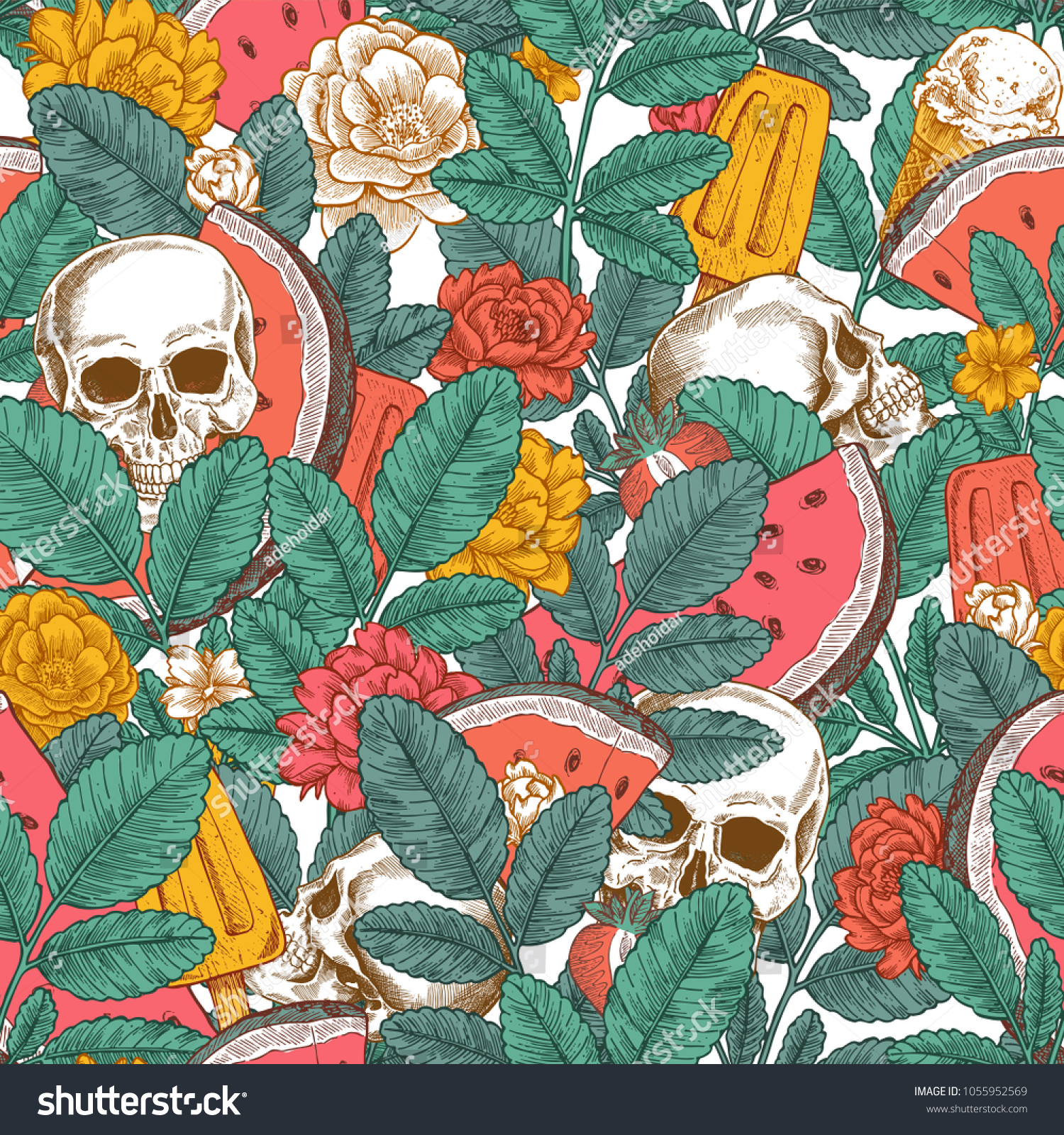Summer Florals Seamless Pattern Hipster Floral Stock Vector