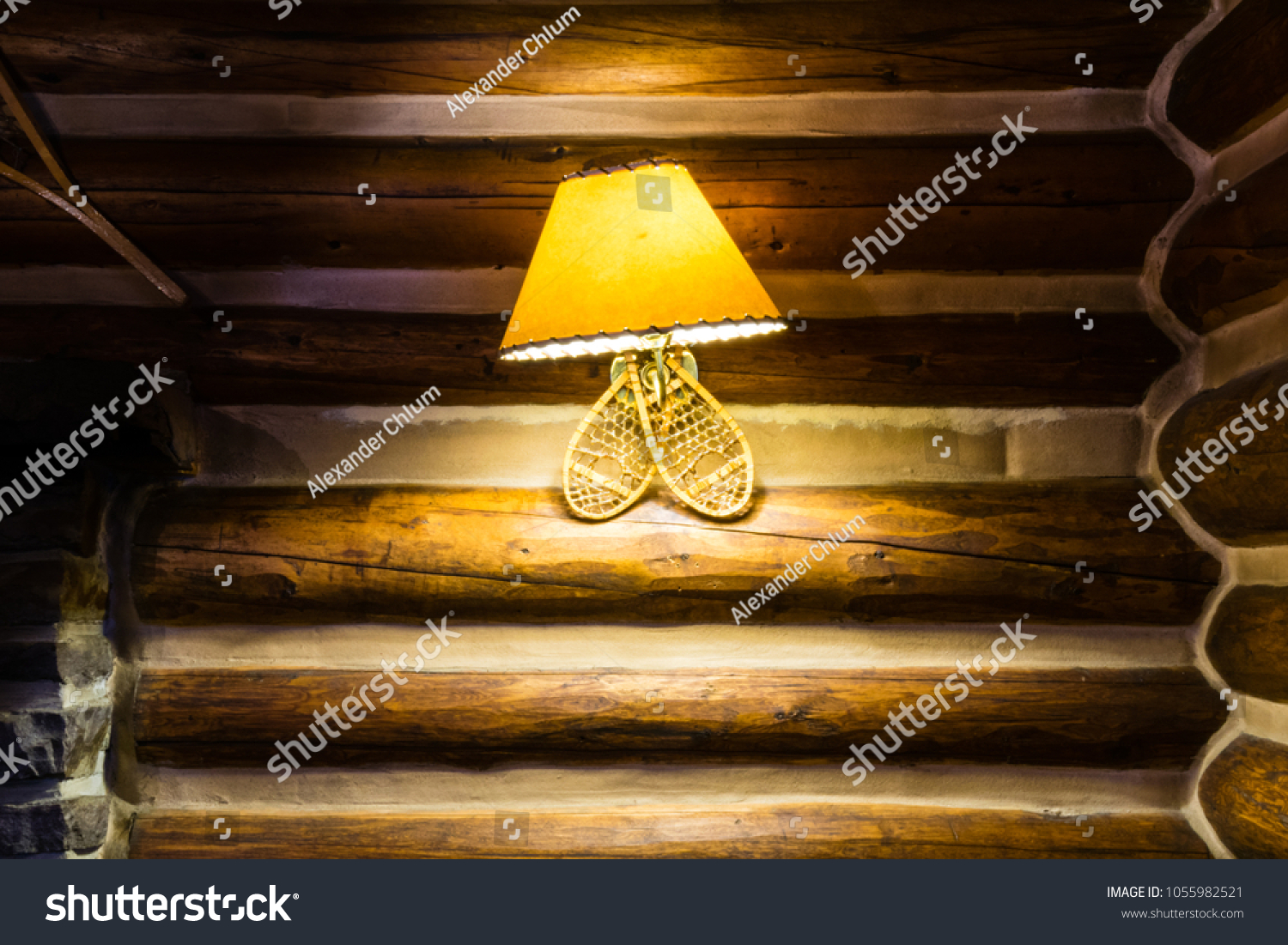 Snowshoe Lamp Leather Shade Hanging On Stock Photo (100% Legal ...