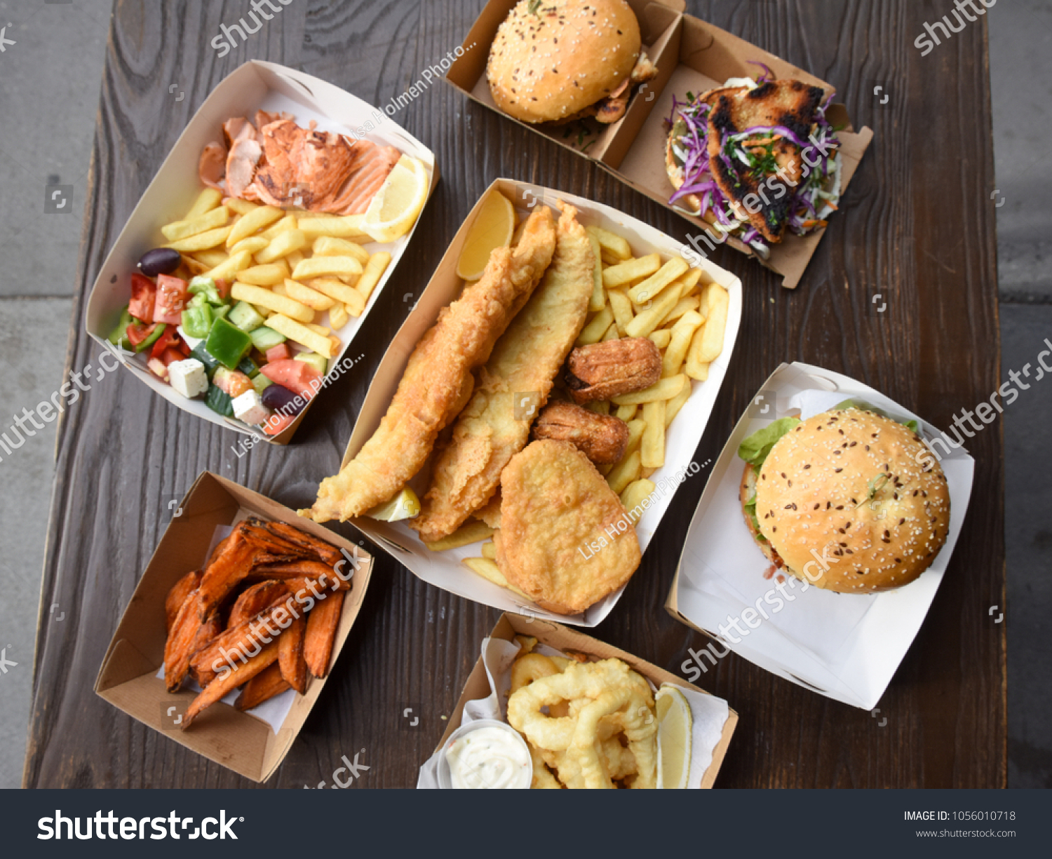 Seafood Feast Fish Chip Shop Stock Photo Edit Now 1056010718