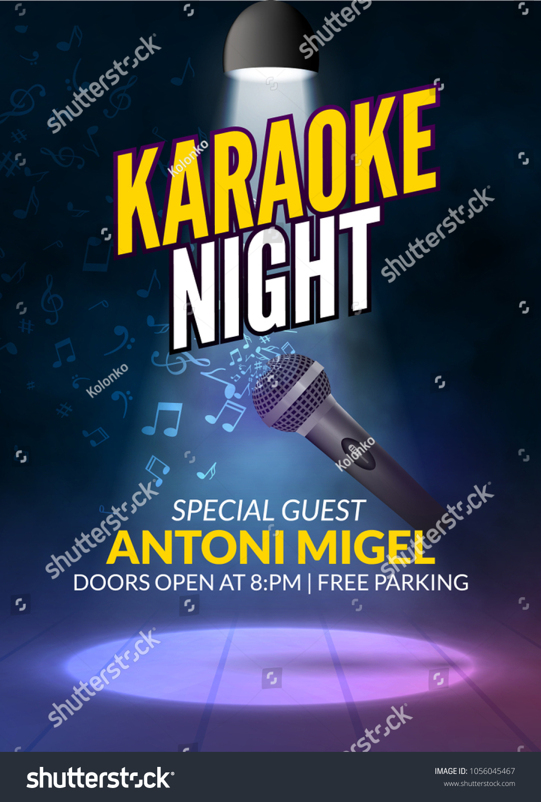Karaoke Party Invitation Poster Design Template Stock Photo (Photo ...