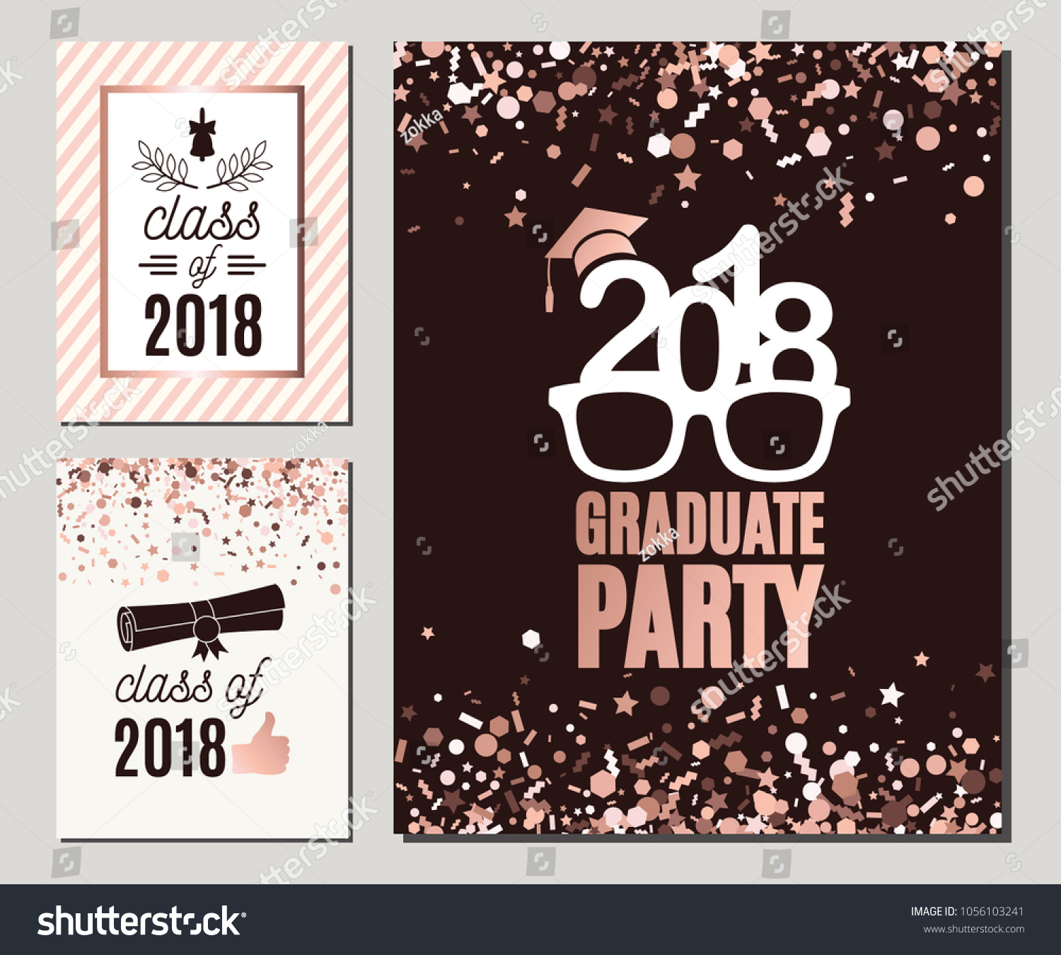 Graduation Class 2018 Greeting Cards Set Stock-Vektorgrafik ...