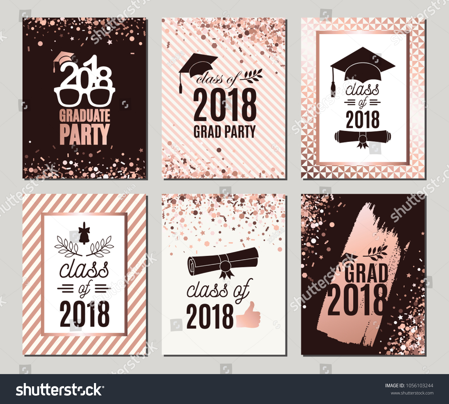 Graduation Class 2018 Rose Gold Greeting Stock-Vektorgrafik ...