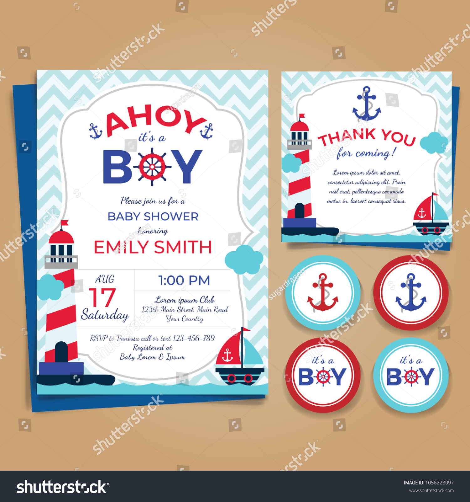 Nautical Theme Baby Shower Invitation Birthday Stock Vector ...
