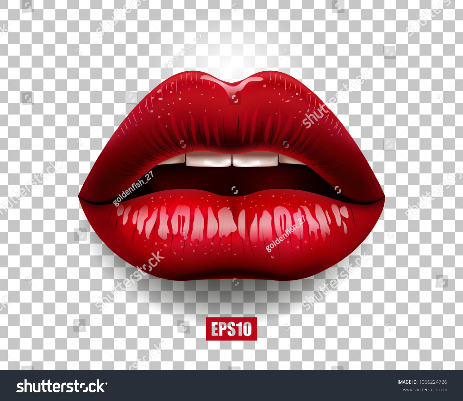 Sexy red lips isolated on transparent background. 3D design. Vector illustration.