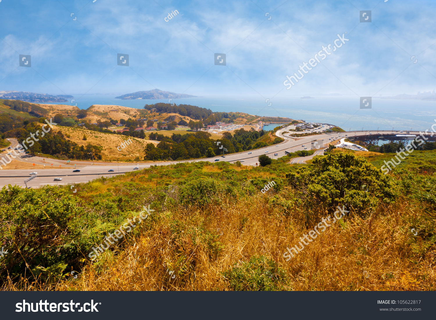 California landscape overlooking san francisco bay stock for San francisco landscape