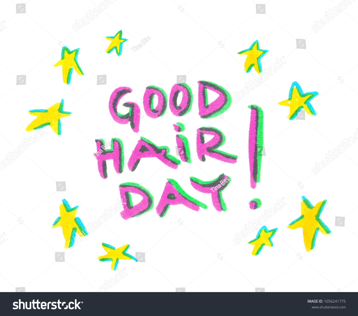 Words Good Hair Day Bright Yellow Stock Illustration 1056241775