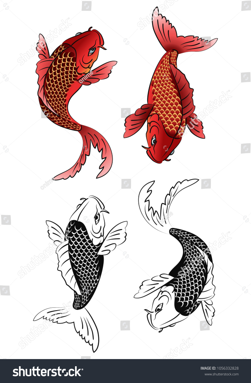 Illustration Two Koi Fish Tattoo Color Stock Vector 1056332828 ...