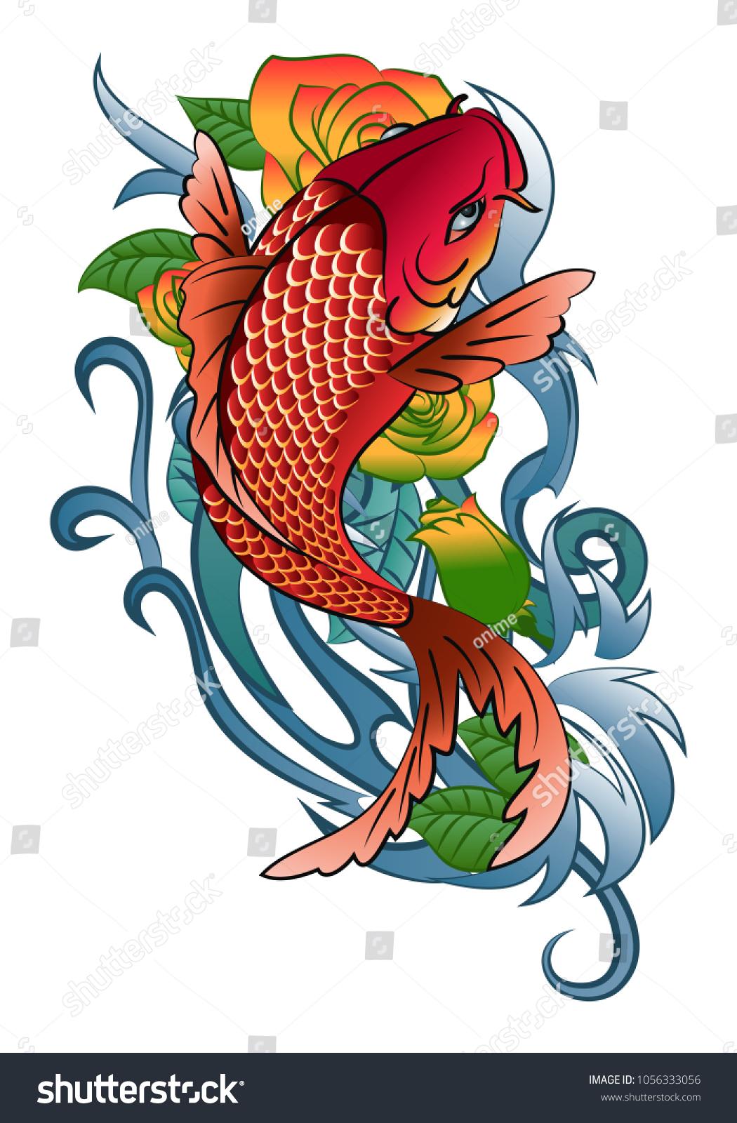 Illustration Koi Fish Jump Tattoo Color Stock Vector 1056333056 ...