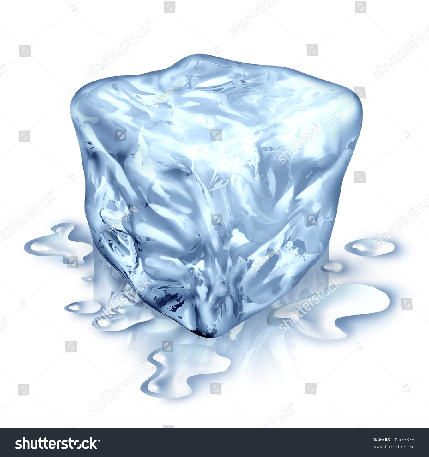 Ice Cube Melting Water Drops On Stock Illustration 105633878