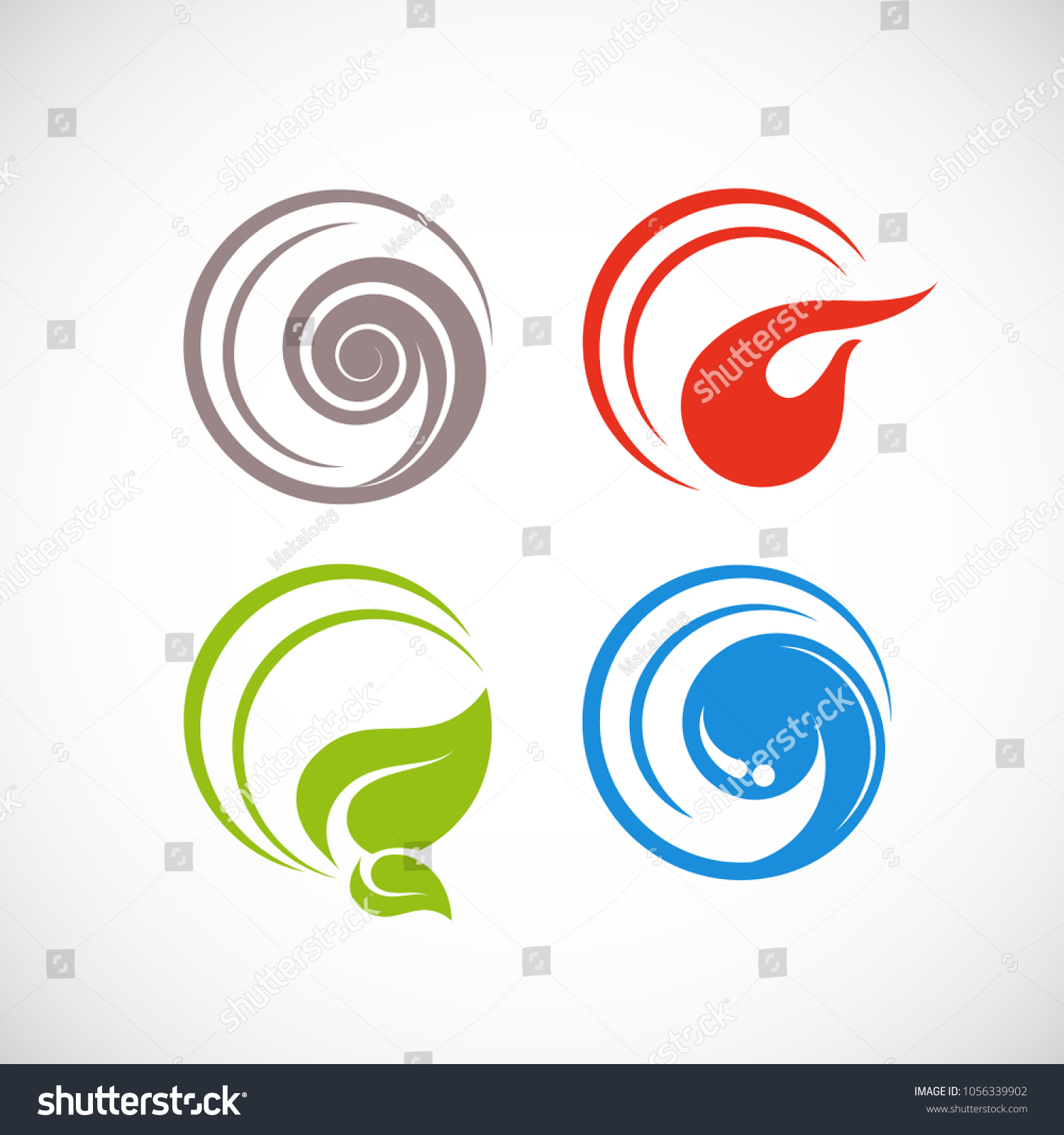 Four Forces Elements Water Fire Earth Stock Vector Royalty Free