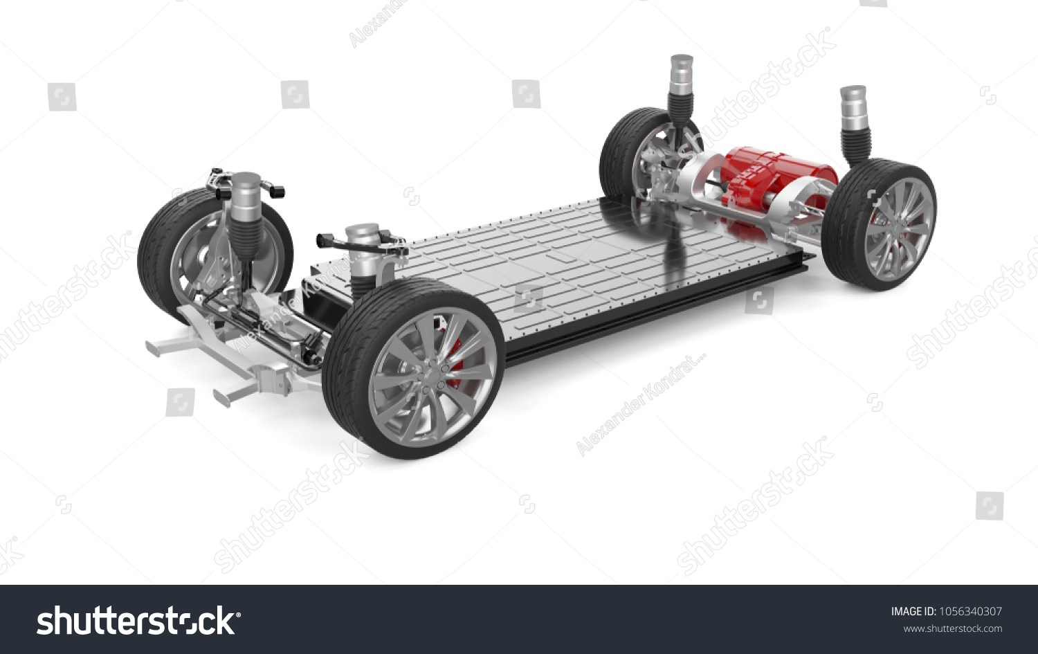 Electric Car Chassis 3 D Rendering Isolated Stock Illustration