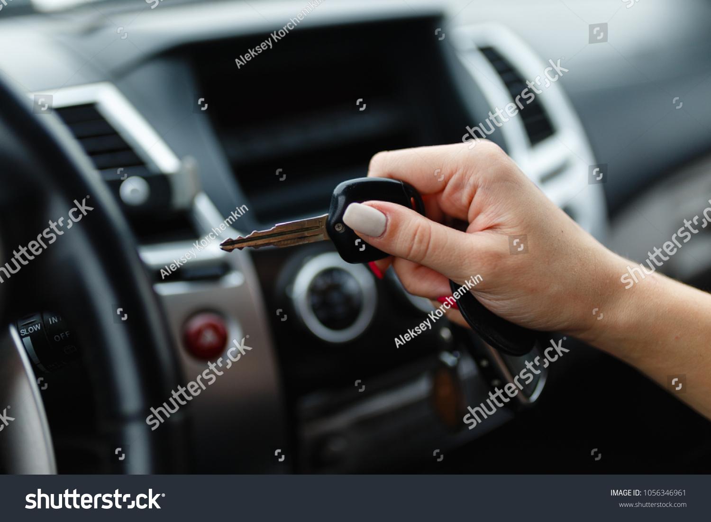 Car Keys Hand Girl Car Interior Stock Photo Edit Now 1056346961