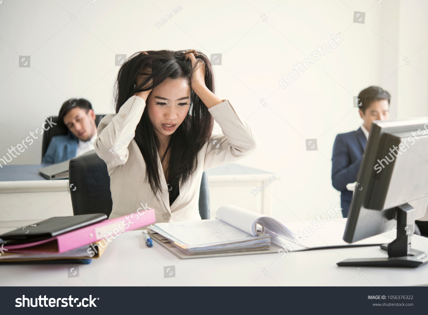 Businesswoman Stressed Unhappy Work Office Life Stock Photo Edit